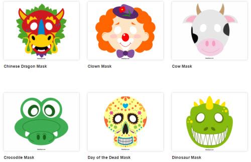Carnevale per bambini una raccolta di maschere di carta a - Immagine di una ragazza a colori ...