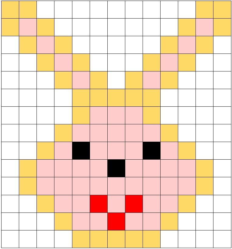 Pixel art di pasqua la scheda di un coniglio facile for Coniglio disegno per bambini
